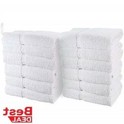 24 PACK HAND TOWEL HEAVY SALON WHITE GYM TOWELS 100% COTTON