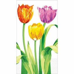 16 Count DISPOSABLE Paper GUEST TOWELS ~ Bright Tulips ~ USA