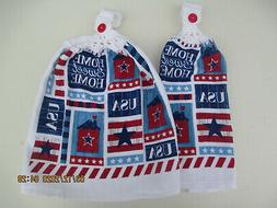 2 Hanging Kitchen Dish Towels w/ Crochet Tops July 4th Home