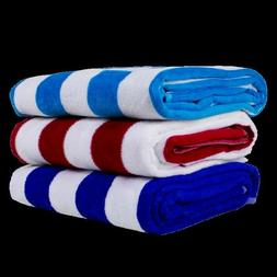 2 PACK 100% COTTON 30 by 60 Velour and Terry Cabana Striped