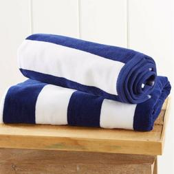 "2 Pack Cabana Stripe Velour Beach Towels 30"" x 60"" - Large P"