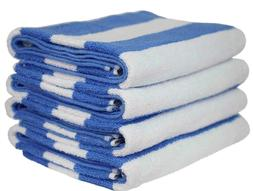6 PACK BLUE STRIPE 30x60 cabana towels pool beach vacation r