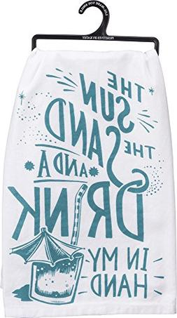 """Primitives by Kathy LOL Made You Smile Dish Towel, 28"""", Drin"""