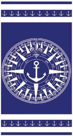 Blue and White Compass Rose Cotton Velour Beach Towel 60 X 3