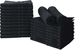 Bleach Proof Salon Towels in Black  24 Pack Cotton  16 x 27