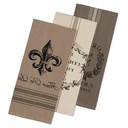"""DII Cotton French Grain Sack Dish Towels, 18 x 28"""" Set of 3,"""