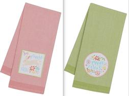 DII Design Import 2 HAPPY EASTER Dish Towels NEW Hippity Hop