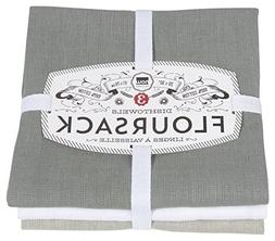 Now Designs Floursack Kitchen Towels, Set of Three, Gray/Whi