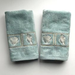 Hand Towels Blue Shells Embroidered Guest Bathroom Summer Be