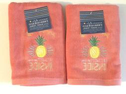 Hand Towels Pineapple Summer Days Pink Embroidered Guest Bat