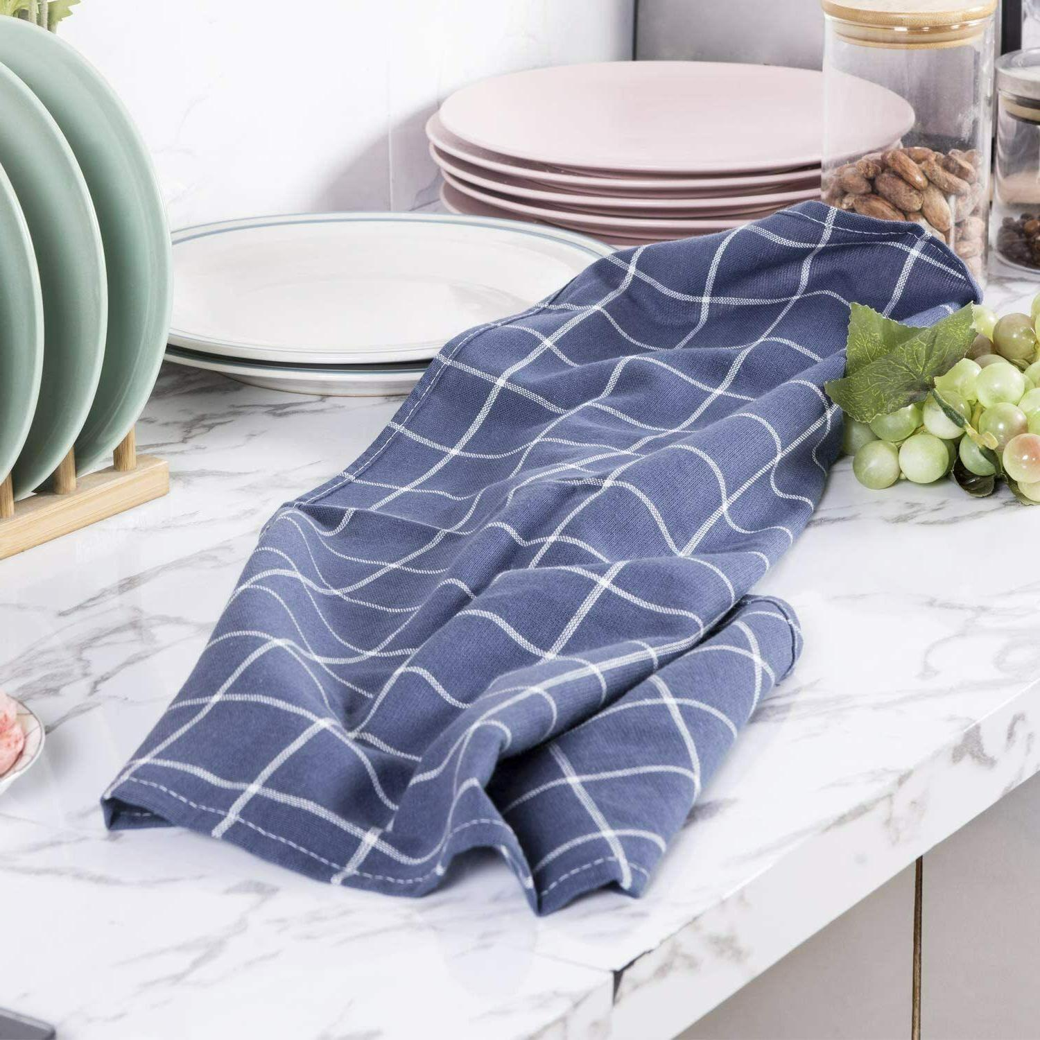 5 Pack Of Dish Towels,Absorbent Cotton Tea Towel Baking