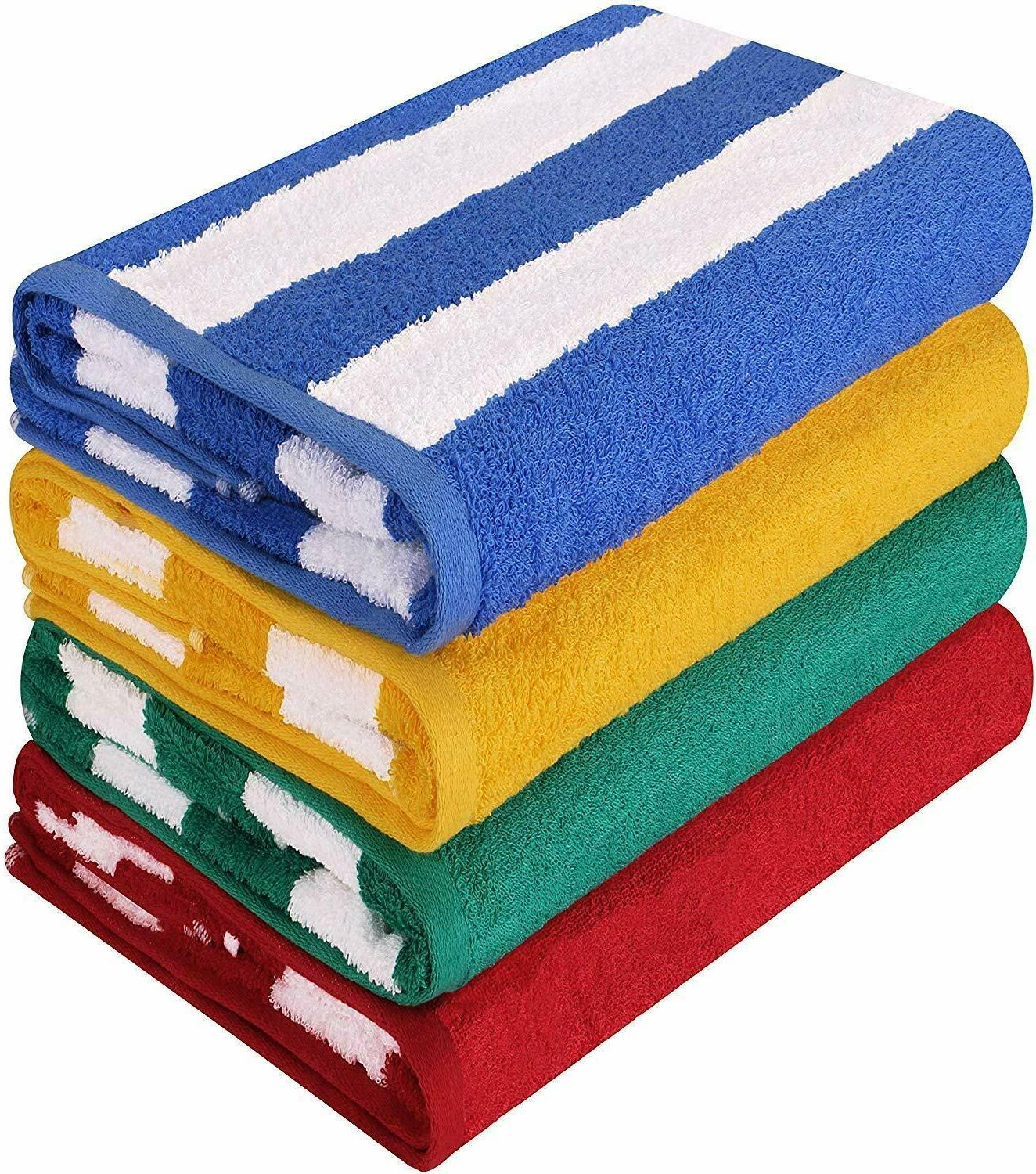 4 Pack Beach Towels Pool Towel Cabana Stripe Extra Absorbent