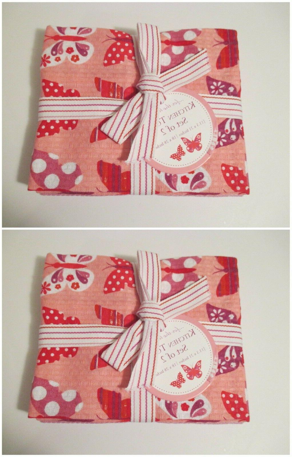 NWT DII Pink Butterfly & Waffle Kitchen Hand Towels~4 Towels