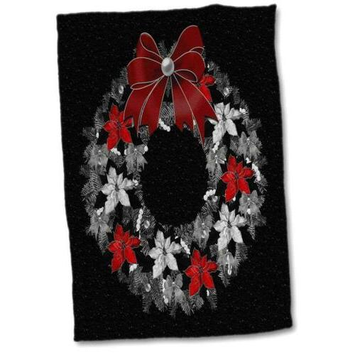 3dRose Red Christmas Wreath on Black Towel x 22...