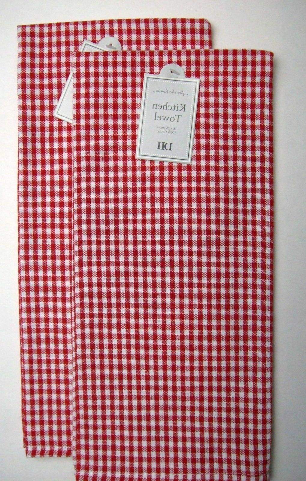 Set of 2 Red & White Gingham Small Check Cotton Dish Towels