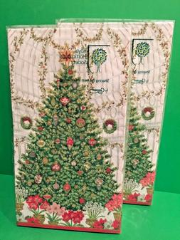 NEW 2 CASPARI 3 Ply HAND GUEST TOWEL Christmas Tree Holiday