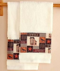 Set Of 2 Hand Towels Primitive Willow Tree Country Star Crow