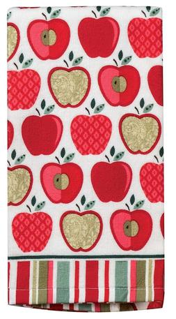 Set of 2 HAPPY APPLE Terry Cloth Kitchen Towels by Kay Dee