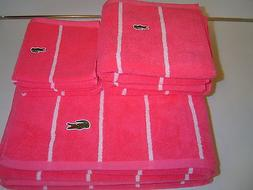 SET OF LACOSTE TOWELS BATH HAND WASHCLOTH PINK WHITE STRIPE